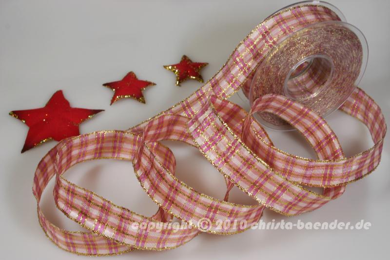 Weihnachtsband weihnachtskaro altrosa mit draht 25mm jetzt for Dekoartikel altrosa