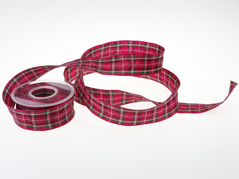Christa-B/änder Weihnachtsband Weihnachtskaro 40mm creme mit Draht