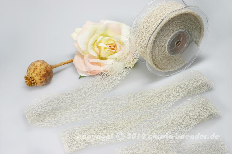 Gitterband Floral Creme ohne Draht 40mm