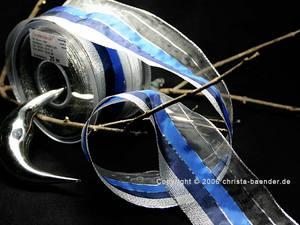 Weihnachtsband Fein-gestreift Blau/Silber mit Draht 65mm