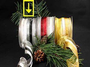 Weihnachtsband Fein-gestreift Schwarz/Silber mit Draht 65mm