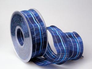 Weihnachtsband Längskaro Blau 40 mm mit Draht
