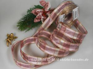 Weihnachtsband Palma Altrosa mit Draht 25mm