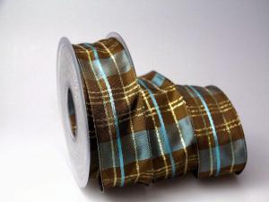 Weihnachtsband Längskaro Braun 40mm mit Draht