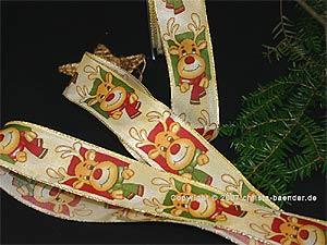 Weihnachtsband Rudolf das Rentier Creme mit Draht 40mm
