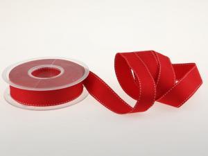 Uniband Ripsband rot 25mm mit Steppnaht ohne Draht