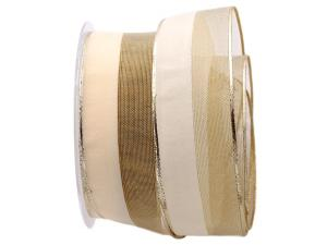 Weihnachtsband Marina creme mit Draht 40mm