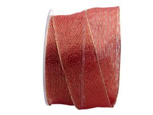 Dekoband Strisce lurex rot / gold 40mm mit Draht