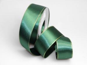 Satinband grün mit Goldkante ohne Draht 40mm - im Bänder Großhandel günstig kaufen!
