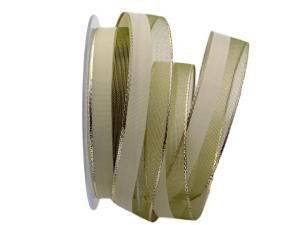 Weihnachtsband Marina olivegrün 25mm mit Draht