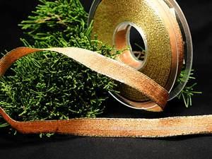 Uniband Brillanz Cognac mit Draht 15mm Goldkante