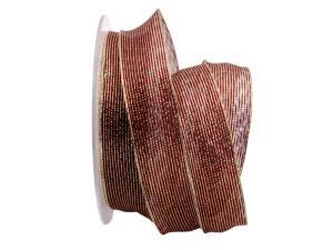Dekoband Strisce lurex bordeaux / gold 25mm mit Draht