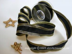 Weihnachtsband Gold Line Schwarz Gold mit Draht 40mm