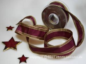 Weihnachtsband Gold Line Brombeer mit Draht 40mm