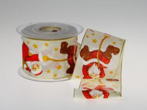 Weihnachtsband Santa Claus Creme Rot mit Draht 65mm - im Bänder Großhandel günstig kaufen!