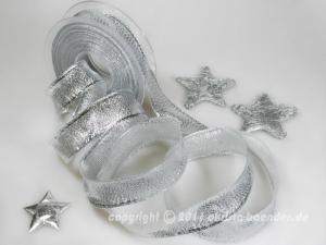 Weihnachtsband Lugano Silber mit Draht 25mm