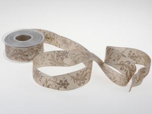 Weihnachtsband Diamant toffee mit Draht 40 mm - Geschenkband günstig online kaufen!