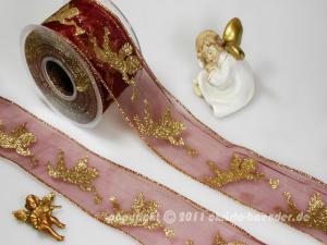 Weihnachtsband Engel mit Trompete Bordeaux mit Draht 65mm - Schleifenband günstig online kaufen!