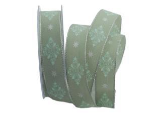 Motivband Ornamento mintgrün 25mm mit Draht