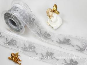 Weihnachtsband Engel mit Trompete Silber mit Draht 65mm - Dekoband günstig online kaufen!