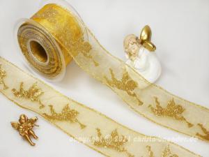 Weihnachtsband Engel mit Trompete Gold mit Draht 65mm - Schleifenband günstig online kaufen!