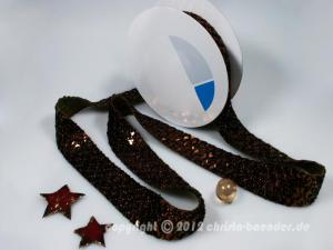 Weihnachtsband Pailettenband Braun ohne Draht 35mm
