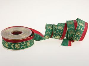Weihnachtsband New Barock Grün mit Draht 40mm - Geschenkband günstig online kaufen!