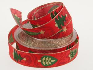 Weihnachtsband Zauberwald rot 25 mm mit Draht - Geschenkband günstig online kaufen!