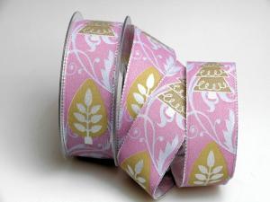Weihnachtsband Zauberwald flieder 40mm mit Draht - Geschenkband günstig online kaufen!