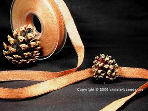 Uniband Brillanz Cognac mit Draht 15mm Glitzerrand