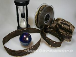 Weihnachtsband Nürnberg Braun mit Draht 25mm