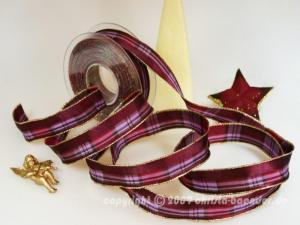 Weihnachtsband Milano Brombeer mit Draht 25mm