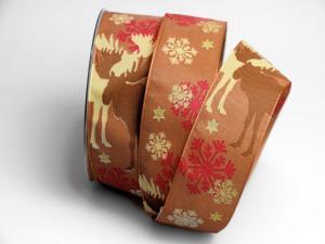 Weihnachtsband Elche Braun 40mm mit Draht