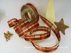 Weihnachtsband Milano Braun mit Draht 25mm