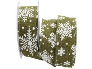 Weihnachtsband Neve olivegrün 40mm mit Draht