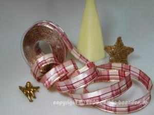 Weihnachtsband Milano Rosa mit Draht 25mm