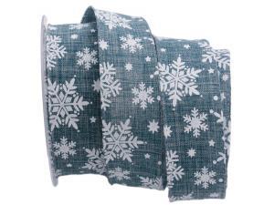 Weihnachtsband Neve blau 40mm mit Draht