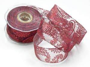 Weihnachtsband Paisley bordeaux mit Draht 40mm