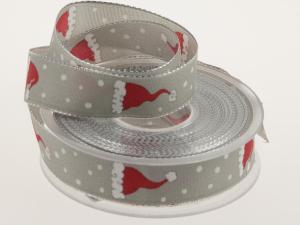 Weihnachtsband Santa Claus 25 mm Grau mit Draht - Geschenkband günstig online kaufen!
