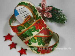 Weihnachtsband Weihnachtsstern Rot mit Draht 40mm