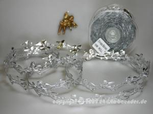 Weihnachtsband Engelchen Silber ohne Draht 25mm