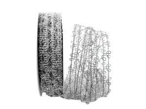 Gitterband Tremosine silber mit Draht 35mm