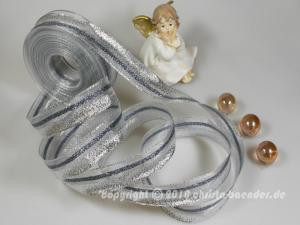 Weihnachtsband Uri Silber mit Draht 25mm