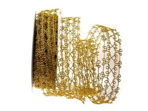Gitterband Tremosine gold mit Draht 35mm