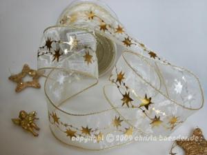 Weihnachtsband Sternentraum Creme mit Draht 62mm