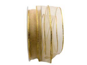 Organzaband Carino gold 25mm mit Draht