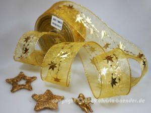Weihnachtsband Sternentraum Gold mit Draht 62mm