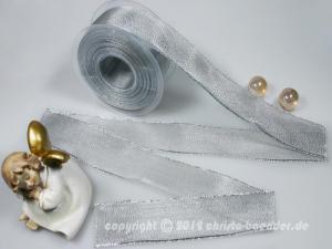 Silberband Organza Silber mit Draht 40mm - Geschenkband günstig online kaufen!