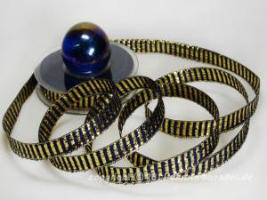 Weihnachtsband Querstreifen Blau Gold mit Draht 15mm