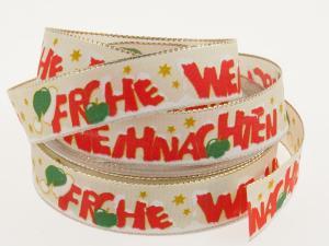 Weihnachtsband Frohe Weihnachten Creme 25 mm mit Draht - Geschenkband günstig online kaufen!